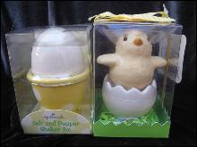 Lot of 2 New Hallmark Spring & Summer Chick & Eggs Salt & Pepper Shakers