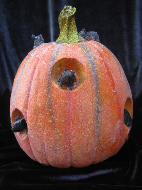 New Halloween Pumpkin With Black Mice Tabletop Display