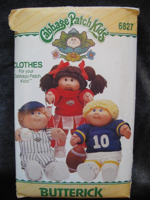 New Vintage Butterick 6827 Cabbage Patch Kids Cheer Leader Football Player Clothes Sewing Pattern