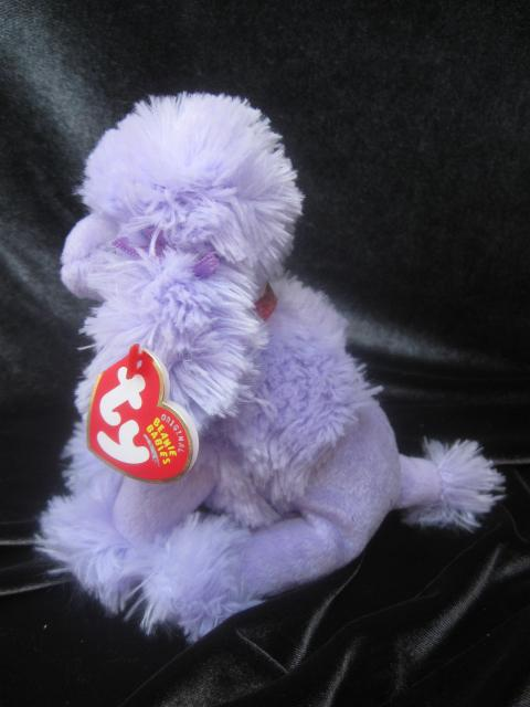 Ty Demure The Purple Poodle Dog  Retired Beanie Baby