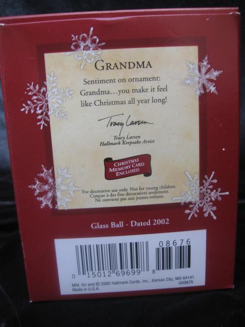 Hallmark 2002 Grandma Glass Christmas Tree Ornament