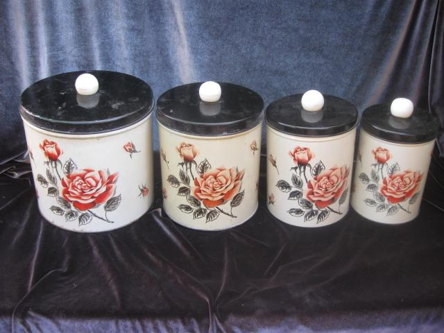 Vintage Shabby Chic Rose Metal Kitchen Or Craft Canisters By Colorware