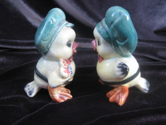 Vintage Courting Yellow  Canary Birds With   Hat & Flowers