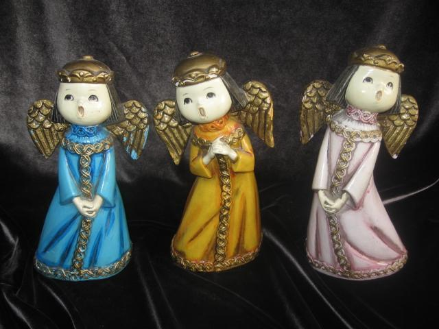 Vintage Paper Mache Singing Angels  Set of 3