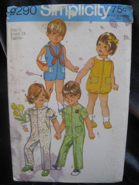 New Vintage Simplicity 9290 Toddlers' Jumpsuit In 2 Lengths