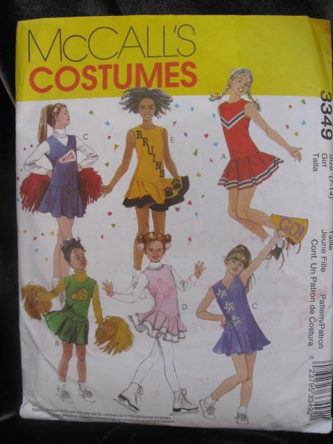 McCall's 3349 Girls' Cheerleader Ice Skating Pom Pom Halloween Costume Sering Pattern