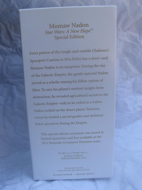 Hallmark 2012 Star Wars Momaw Nadon Special Edition Limited Quantity  Christmas Tree Ornament