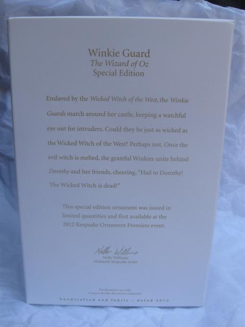 Hallmark 2012  Winkie Guard Wizard Of Oz WOZ  Special Edition Limited Quantity  Christmas Tree Ornament