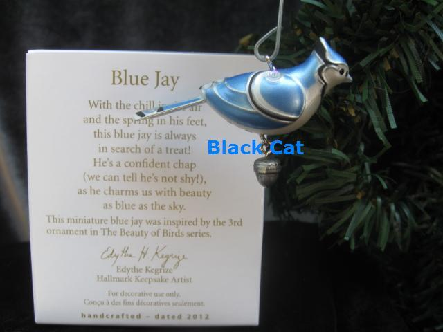Hallmark 2012 Blue Jay Miniature Beauty Of Birds Series Christmas Ornament