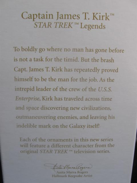 Hallmark 2010  Captain James  T.  Kirk Star Trek 1st In Legends Christmas Tree Ornament