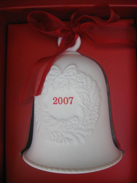 Lot of 5 Hallmark 2007 Porcelain Bell Ornaments