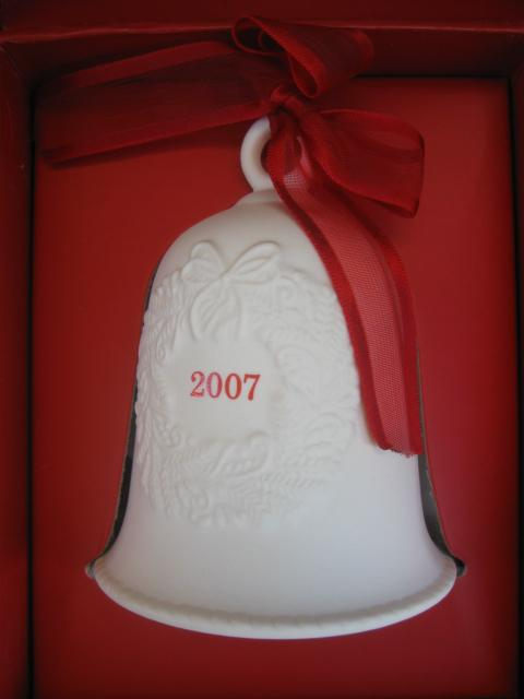 Lot of 4 Hallmark 2007 Porcelain Bell Ornaments