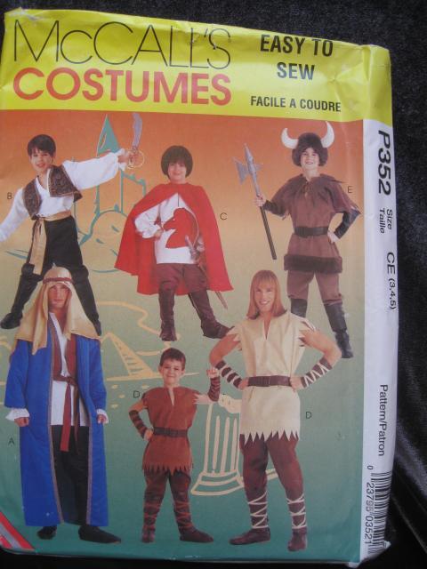 New McCall's P352 352  Children's  Viking Shepherd Pirate & More  Halloween Costume Sewing Pattern Children's Size 3 4 5