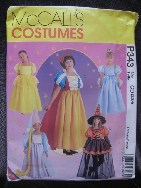 New McCall's P343 343   Children's Disney Princess Halloween Costume Sewing Pattern Size 2 3 4