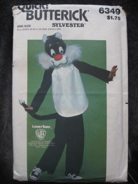 New Vintage Butterick 6349 Sylvester Halloween Costume  & Mask Sewing Pattern Children's S M L