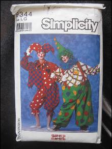 Vintage Simplicity Clown Mime Halloween Costume Sewing Pattern Adult Large