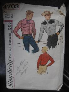 Vintage Simplicity 4703 Men's Western Shirt Sewing Pattern Neck 15 Chest 38 Rockabilly