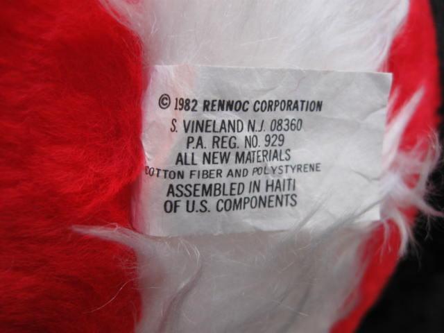 Vintage 1982 Rennoc Plush Santa Claus