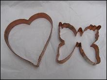 2 Large Copper Cookie Cutters Heart & Monarch Butterfly