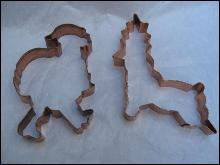2 Large Copper Christmas Santa Claus & Reindeer Cookie Cutters