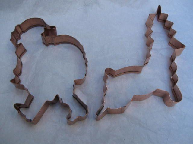 2 Large Copper Christmas Santa Claus & Reindeer Cookie Cutters