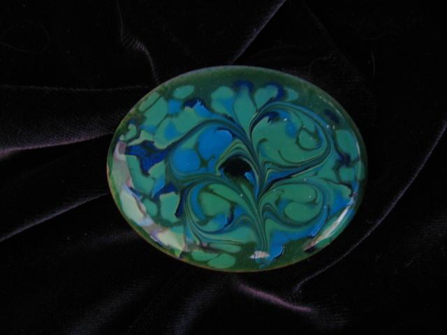 Vintage Inga Copper Enamel Brooch