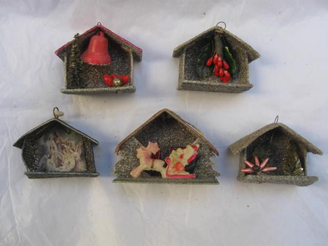 5 Vintage Christmas Putz Mica Ornaments Japan & Germany
