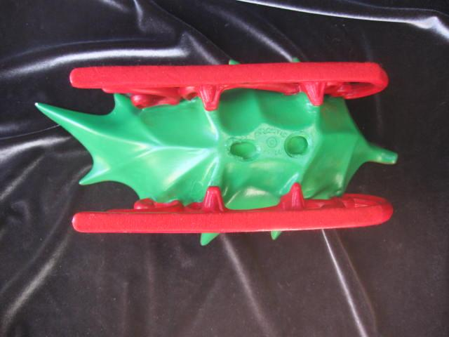 Vintage Atlantic Mold Holly Leaf Christmas Sleigh Candy Dish Or Centerpiece