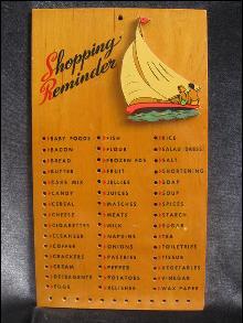 Vintage Shopping Reminder Grocery  List  Sailing Sail Boat