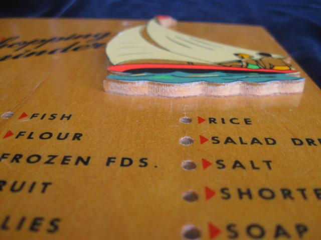 Vintage Shopping Reminder Grocery  List  Sailing Sail Boat