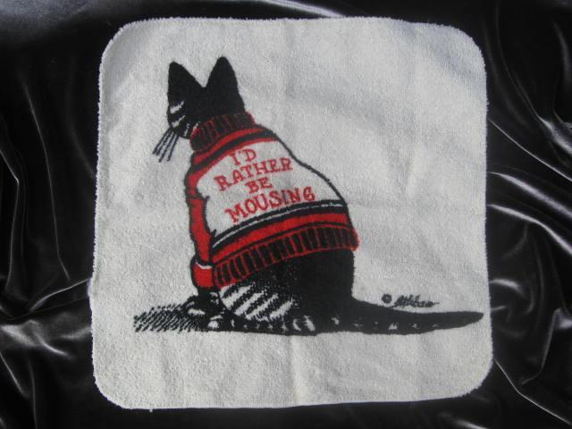 Vintage Kliban I'd Rather Be Mousing Wash Cloth