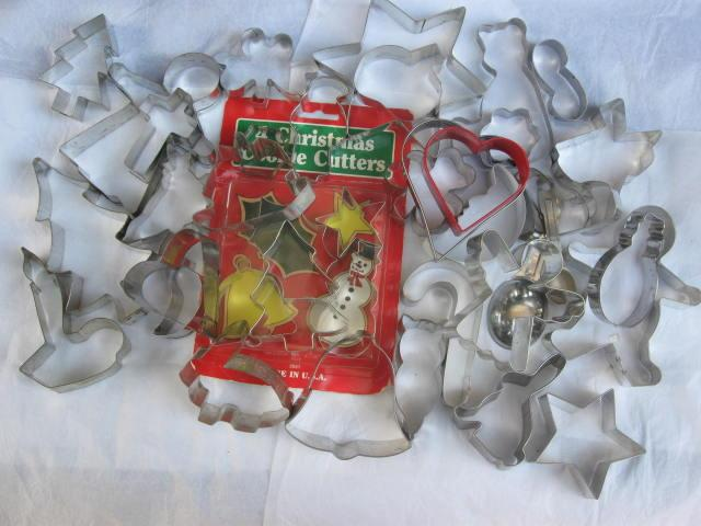 Lot of 37  Aluminum Cookie Cutters Christmas Easter Halloween & More