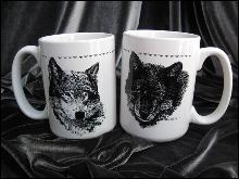 Set Of 2 Bob Dunn Wolf Mugs Large Mugs Made In USA