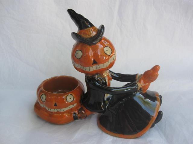 Yankee Candle Pumpkin Witch On Broom Jack O Lantern  Tea Light Figurine