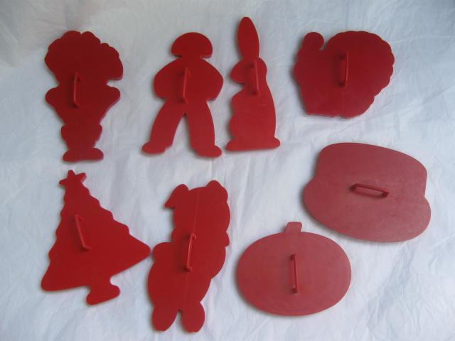 Lot of 8 Vintage  Red  Tupperware Cookie Cutters