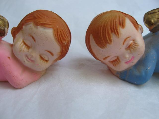 2 Vintage Boy & Girl Baby Sleeping Christmas Angels Wilton Cake Toppers