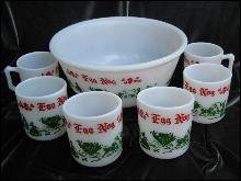 Vintage Hazel Atlas Tom & Jerry Egg Nog  Punch Bowl & 6 Mugs  - 7 Piece Christmas Serving Set
