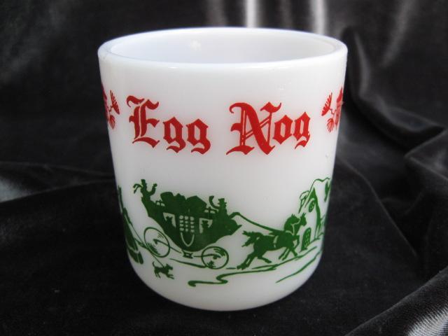 Vintage Hazel Atlas Tom & Jerry Egg Nog  Punch Bowl & 6 Mugs  - 7 Piece Christmas Serving Set