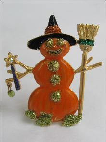 OTC  Christmas Winter or Halloween Orange Snowman Brooch