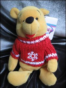 Disney Winnie The Pooh Snowflake Sweater Pooh Beanie Baby Bean Bag Plush Christmas or Winter Pooh