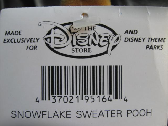 Disney Winnie The Pooh Snowflake Sweater Pooh Beanie Baby Bean Bag Plush Christmas or Winter Pooh