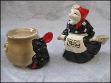 Fitz & Floyd Halloween Witch & Black Cat  Cauldron Salt & Pepper Shakers