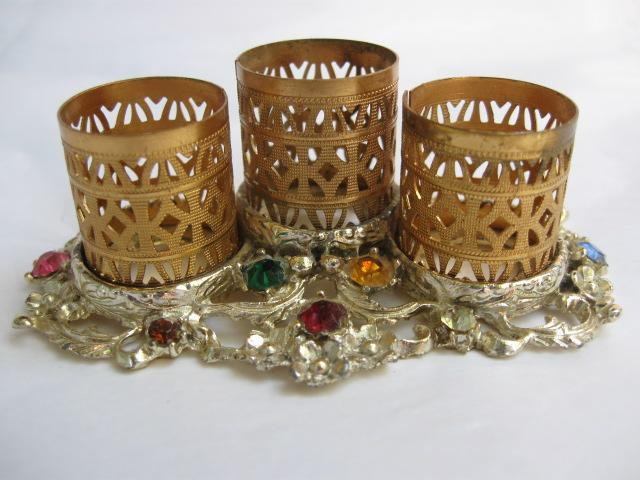 Gold Tone Filigree Lipstick Holder with Faux Jewels