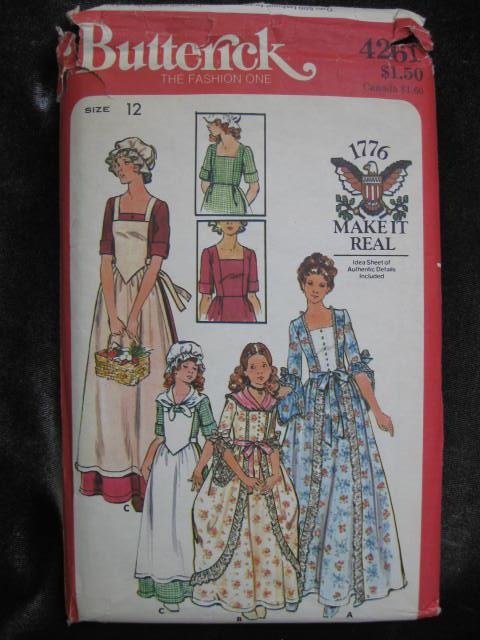 New Vintage Butterick  4261 Dolly Madison Puritan Colonial Halloween Costume Sewing Pattern