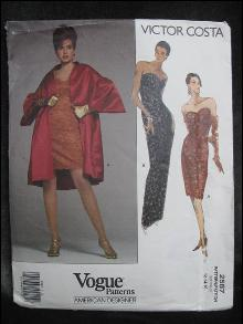 New Vogue 2587 Victor Costa Coat & Evening Dress Sewing Pattern Misses Size 12 14 16