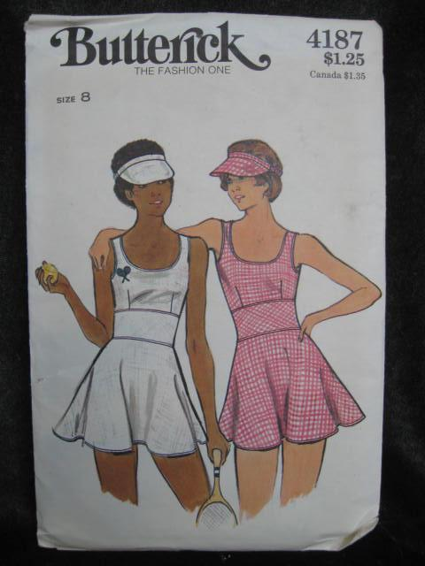 New Vintage Butterick 4187 Misses Tennis Dress Sewing Pattern Size 8
