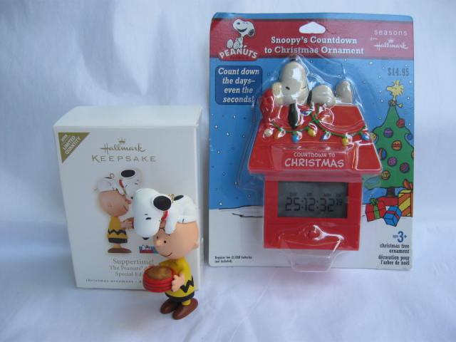 Lot Of 2 Hallmark Peanuts Ornaments Suppertime & Snoopy Countdown To Christmas Ornaments