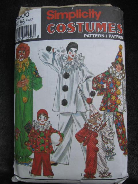 Simplicity 9806 Adult Clown Mime Halloween Costume Sewing Pattern Adult Small