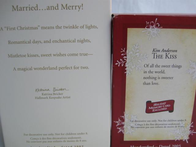 Lot Of 2 Hallmark Romance Ornaments The Kiss & Married & Merry Christmas Tree Ornaments 2005 & 2007