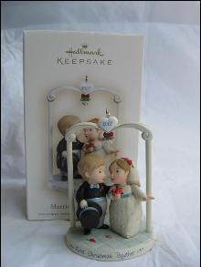 Hallmark 2007 Married & Merry Wedding Cake Topper Ornament